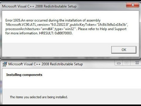 Error 1935 can't install MS Visual C++ packages HRESULT:0x80070003