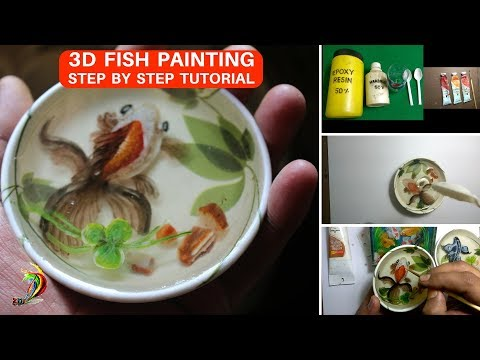 How to draw 3d fish in resin | 3D Goldfish Painting tutorial | Explained with subtitles