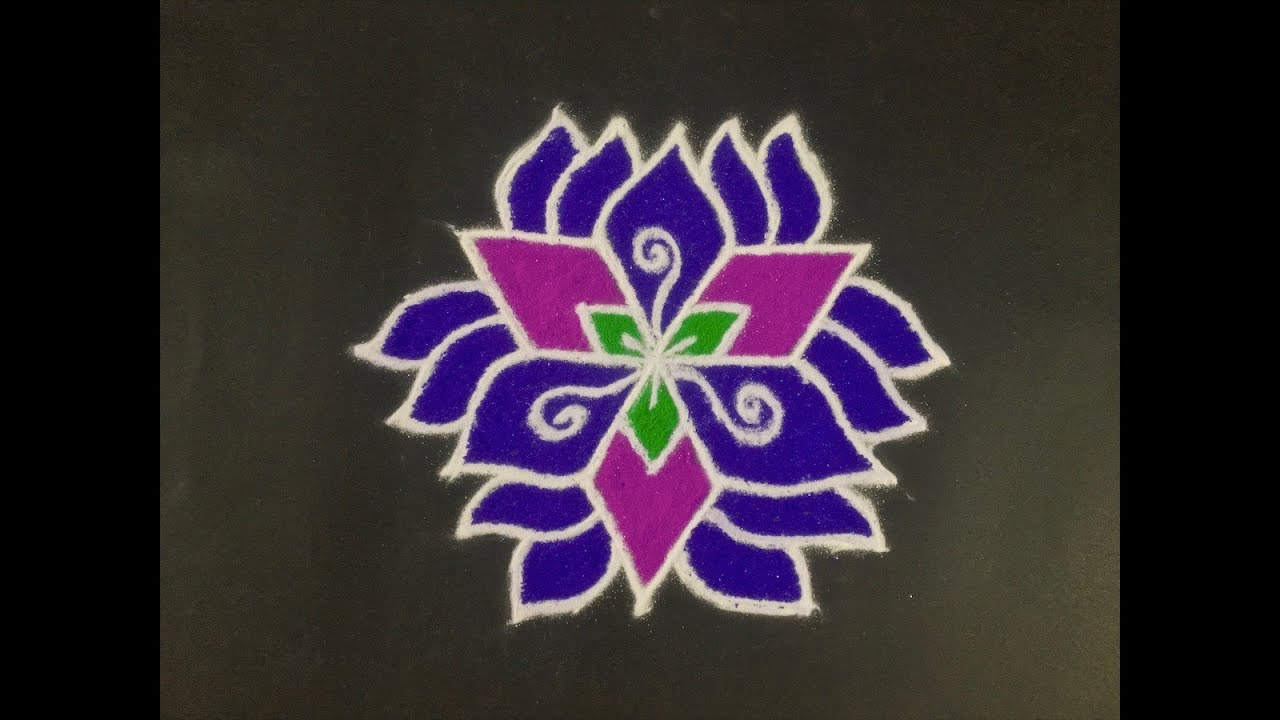 Rangoli Design With Colours For Festivals And Competitions With Dots 9x5 Easy Rangoli Daily Rangoli