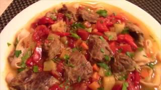 Лагман. Восточное блюдо из телятины, овощей и лапши.