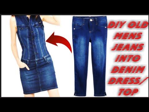 d369a7d7d34 DIY   Convert Reuse Old Men s Jeans into DENIM DRESS(HINDI) - YouTube