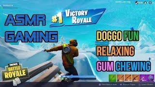 ASMR Gaming | Fortnite Doggo Fun Relaxing Gum Chewing 🎮Controller Sounds + Whispering😴💤