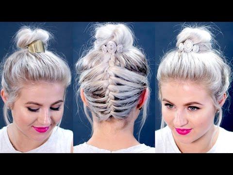 Short Hair Tutorial : Messy Braided Top Knot | Milabu