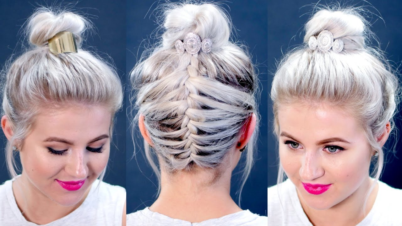 short hair tutorial : messy braided top knot | milabu - youtube