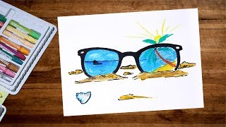 Landscape Beach Sunglass Drawing With Oil Pastel | Beach Drawing For Beginners | Oil Pastel Drawing