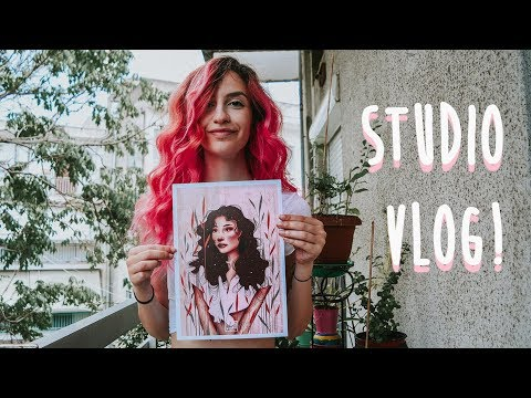 STUDIO VLOG 01 ♡ Unboxing Free Stuff, Making Art Prints , Packing Orders And Summer In Greece