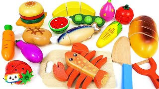 Fun Learn Names & Color l ♣ Fruit & Vegetables Wooden Toys Cutting Education Videos + With Picture