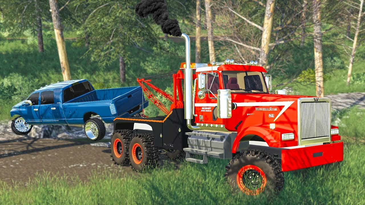 OFF ROAD RECOVERY! (NEW $100,000 LIFTED WRECKER!)   (ROLEPLAY) FARMING SIMULATOR 2019