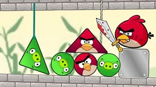 Angry Birds Pigs Out - CUT THE ROPE TO KICK TRIANGLE AND ROUND PIGGIES FULL!