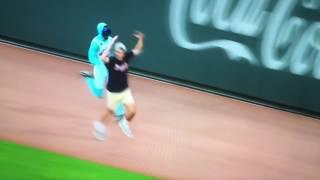 FUNNY Braves fan falls loses race