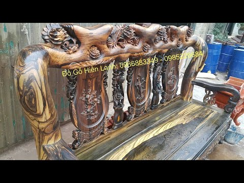 Bộ bàn ghế phòng khách gỗ mun hoa tay 16 chọn Vân Da Báo đẹp Cỡ Nào???.đồ gỗ Hiền Lanh. 0986883349