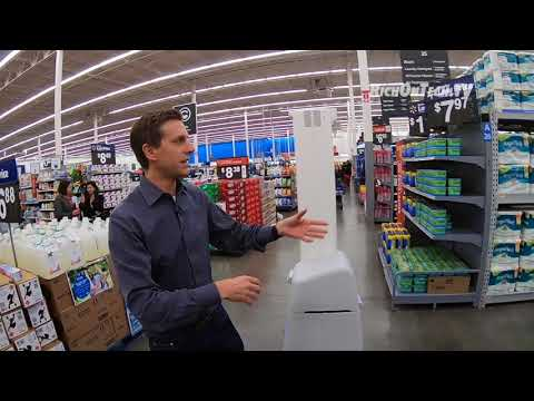 Walmart Robots Working Store Aisles, Checking Stock