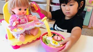 メルちゃん おしょくじラーメンのおもちゃでお料理ごっこ おままごと Noodles Toy Playset