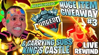 GIVEAWAY enorme ITEM #3 🏆 carregando SUBS 🏰 castelo do rei ⚔ Dungeon Quest ► Roblox PRO PC 🔴 LIVE Rewind
