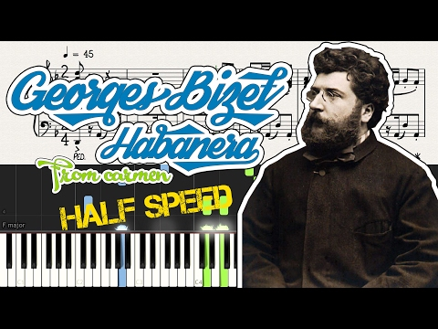 Habanera Piano Totorial [Sheet Music]+[Synthesia]+[Half Speed]
