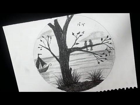 رسم منظر طبيعي بالرصاص سهل جدا خطوه بخطوه للمبتدئين