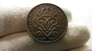Монета. 5 эре.  1944 год.  Швеция.  Король Густав 5.  Цена.  Обзор.