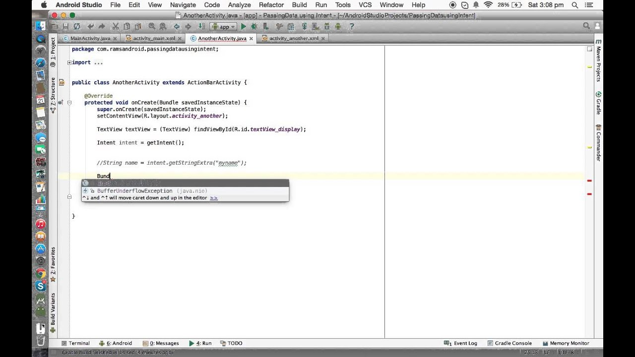 Android Studio Tutorials - 37 : Passing data b/w Activities using Bundle  class in Android