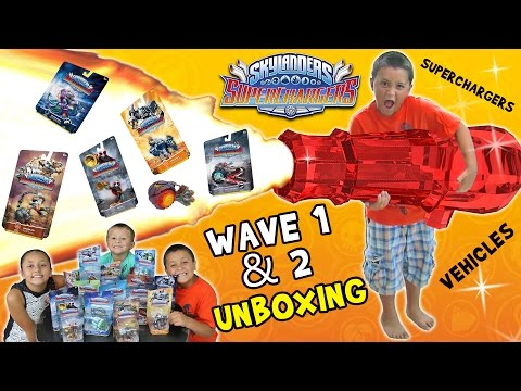 Skylanders SuperChargers Cannon Launcher Fail!  Wave 1 & 2 Toys Unboxing Race Fun