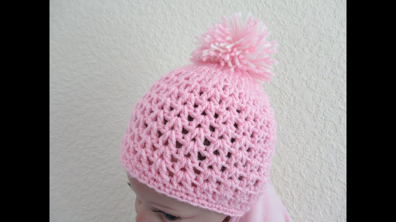 55a181577a7 Easy Crochet Baby beanie hat 0-6 months 12