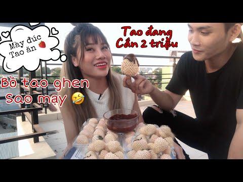 Gốc Rì Viu - Dâu Bạch Tuyết Chấm Socola Và Rủ Anh quay phim Ăn Cùng Nana Liu