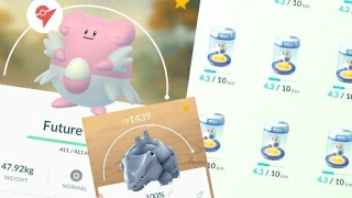 100% Blissey Maxed Out! 8, 10km Eggs Hatched + CP1439 Rhyhorn!!