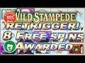 Wild Stampede 95% payback slot machine, Retrigger