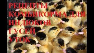 Рецептура комбикорма для бройлерных Индюков, Гусей и Уток.