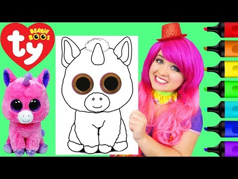 - Coloring Ty Beanie Boos Magic Unicorn Coloring Page Prismacolor Markers  KiMMi THE CLOWN - YouTube