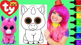 Coloring Ty Beanie Boos Magic Unicorn Coloring Page Prismacolor Markers   KiMMi THE CLOWN
