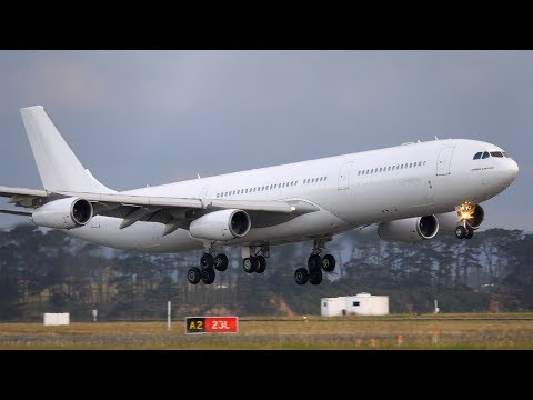 EXTREME CLOSE UP! Hi Fly Malta Airbus A340-300 Landing | Auckland Airport Plane Spotting [4K]