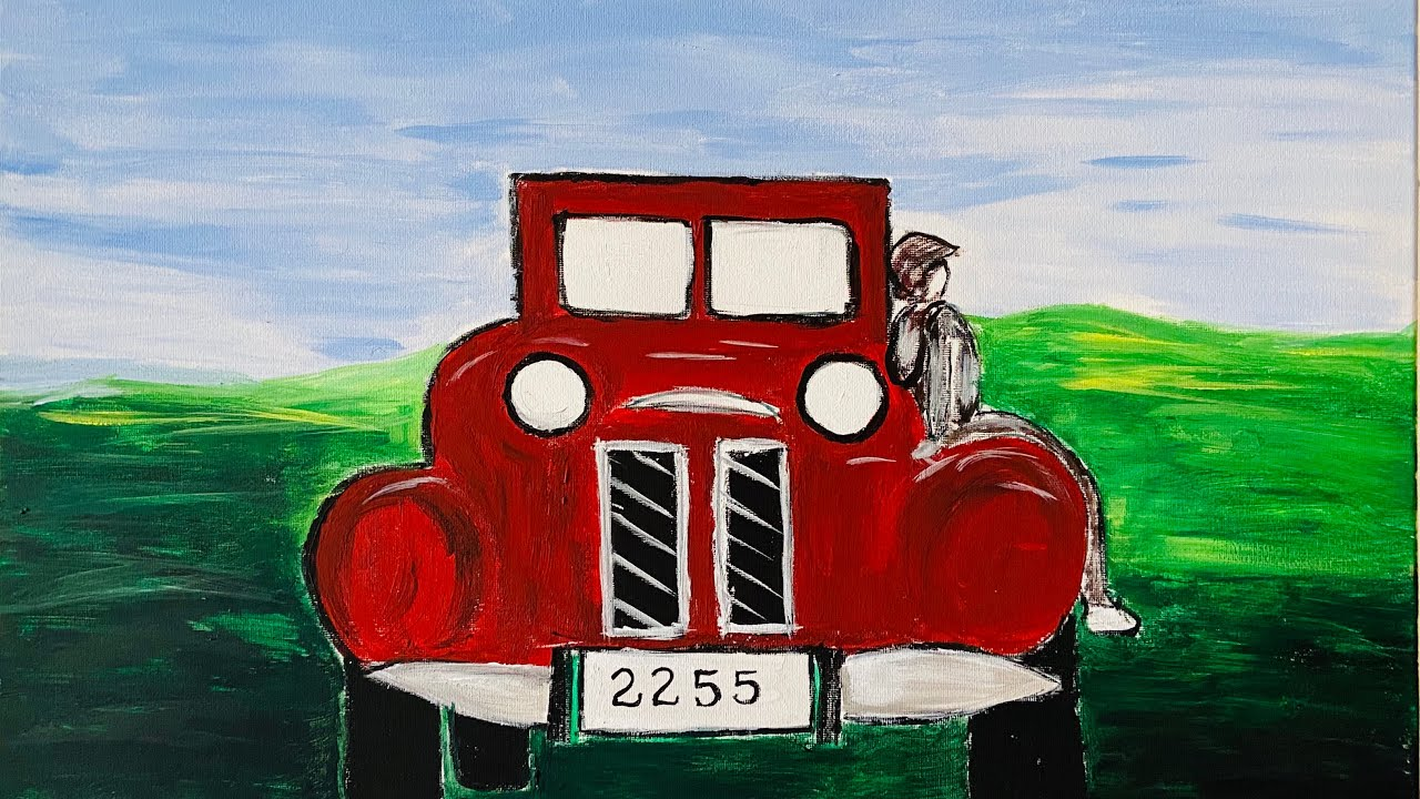 An Antique Car | Acrylic Painting on Canvas | Taste Palette