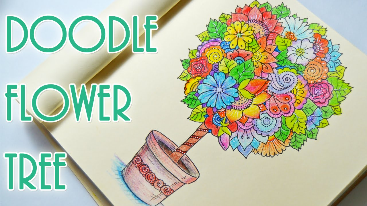 How to Doodle Flower Tree | Zendoodle | Рисуем Дудлинг