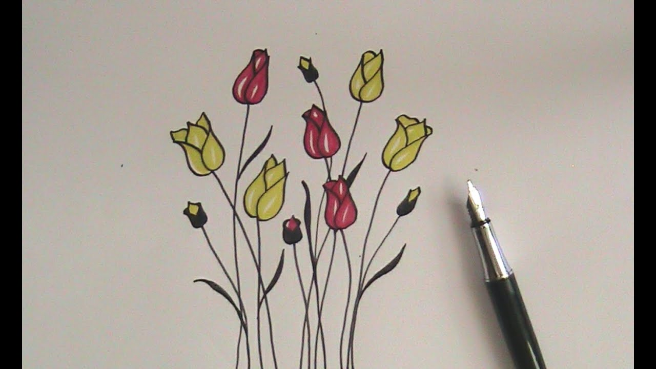 How To Draw Flowers For Beginners Easy Version Tulip Flowers Youtube