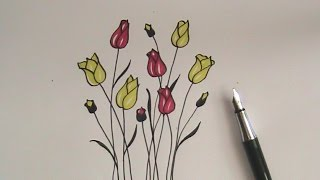 how to draw flowers for beginners- easy version tulip flowers