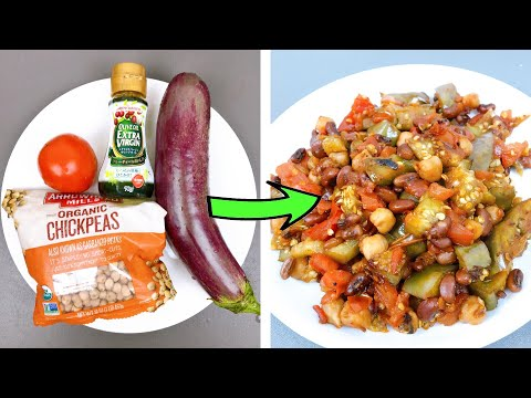 Healthy Vegan Recipes For Weight Loss 🍆 Eggsplant with chickpeas recipe (270 calories)
