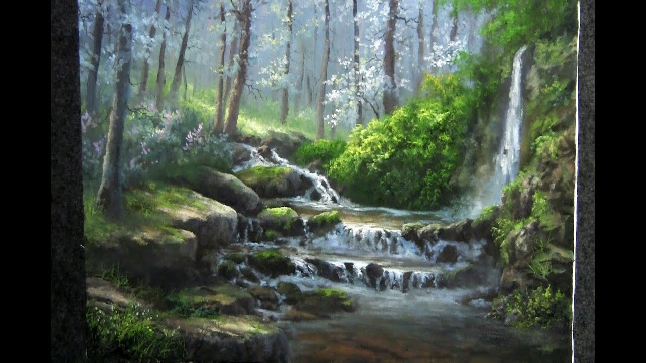 landscape painting misty forest