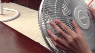 LASKO table fan unboxing and running.
