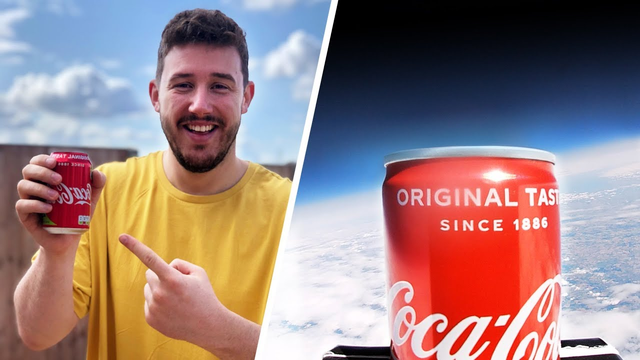 I Sent a Can of Coca Cola into Space… What Will Happen? (First Coke in  Space)