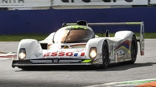 Peugeot 905 Evo 1 Bis racing at Monza Circuit: V10 Sound, Warm-Up & Downshifts!