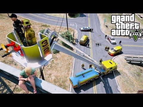 GTA 5 Firefighter Mod Tower Ladder Fire Truck Rescues Suicidal Jumper On A Bridge