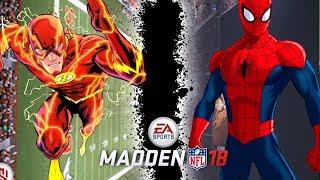 FLASH VS SPIDERMAN! 100 Yard Touchdown VS 3 Deep Coverage! Madden 18