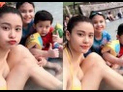 tin tuc sao viet_Trương Quỳnh Anh khoe dáng bên bể bơi sau vụ Tim 'ong bướm'