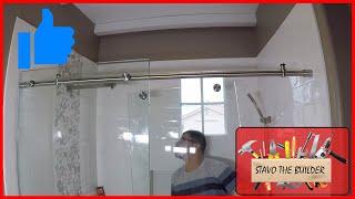 Como instalar una puerta de vidrio corrediza moderna para ducha / Modern Glass Shower Door Kit.