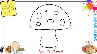 How to draw a mushroom EASY step by step for kids, beginners, children