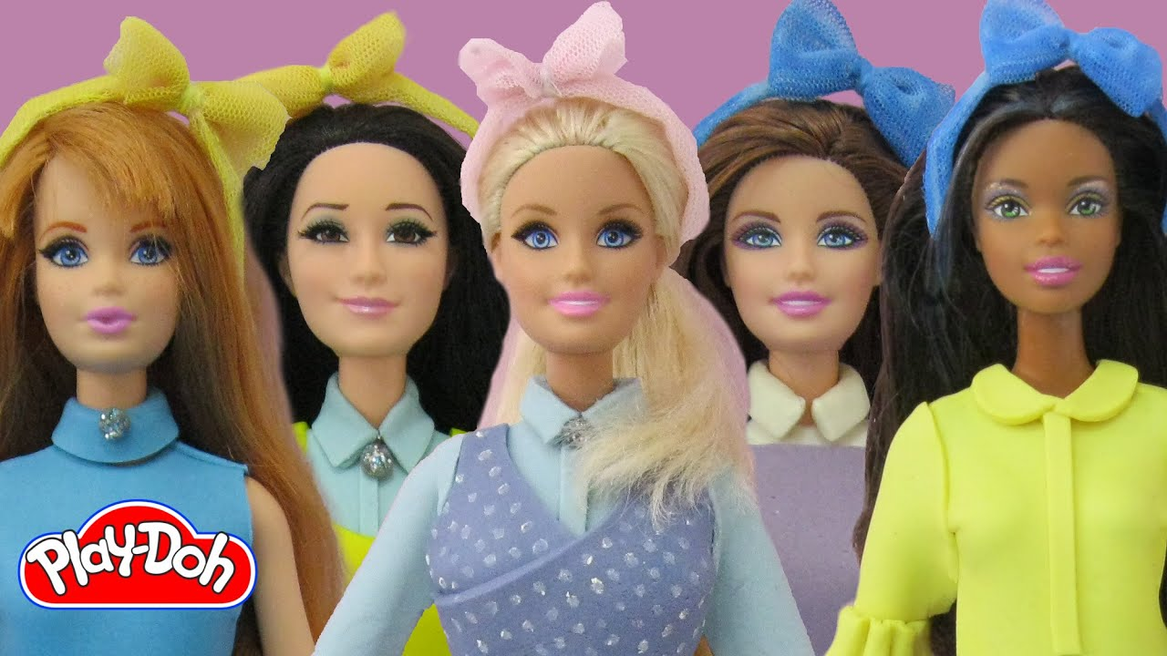Play doh barbie dolls meghan trainor all about that bass inspired