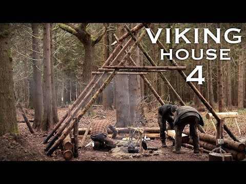 Building a Viking House with Hand Tools: Axe, Hammer, Auger, | Bushcraft Project (PART 4)