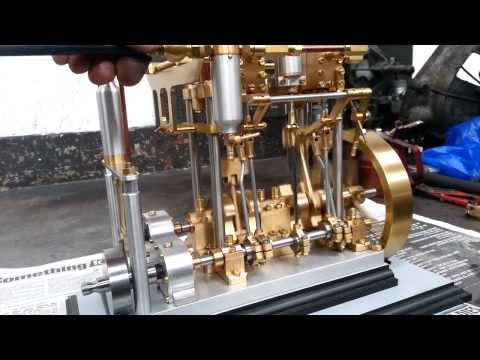 Twin Cylinder Double Acting Steam Powered Engine with Reverse Gear Smaller Engine [Creation]