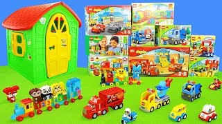 Lego Duplo Toys Unboxing: Play House, Cars, Excavator, Fire Engine, Animals, Colors & Numbers