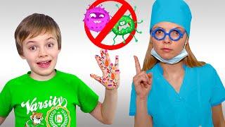 Nikita and mom - wash your hands story |동요와 아이 노래 | 어린이 교육 |  Polina fun